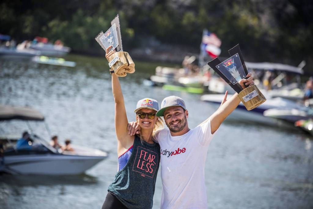 Event winners Rhiannan Iffland (L) of Australia and Blake Aldridge of the UK celebrate on the podium during the fourth stop of the Red Bull Cliff Diving World Series at Possum Kingdom Lake, Texas, USA on September 3, 2017. // Romina Amato/Red Bull Content Pool // P-20170904-06906 // Usage for editorial use only // Please go to www.redbullcontentpool.com for further information. //