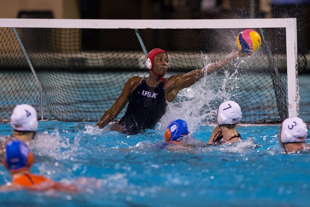 December 16, 2017; Santa Margarita Catholic High School, Santa Margarita, California, USA; Waterpolo: USA Water Polo Exhibition Series: USA vs Netherlands; USA Goalkeeper Ashleigh Johnson with a savePhoto credit: Catharyn Hayne- KLC fotos