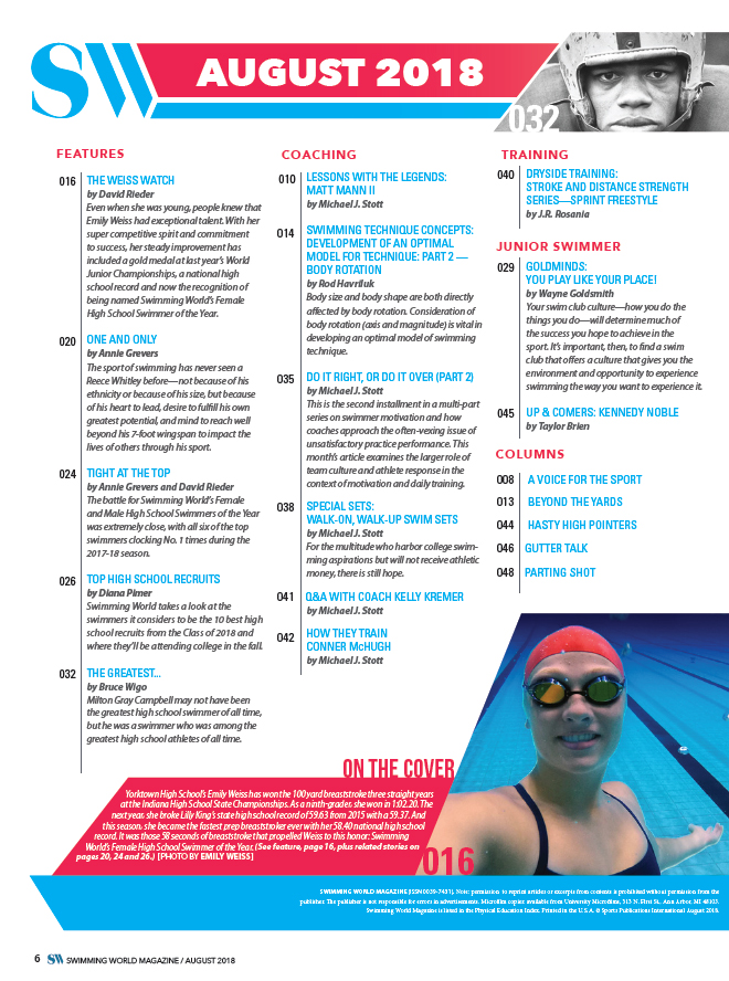Swimming World Magazine August 2018 Issue - Print Edition