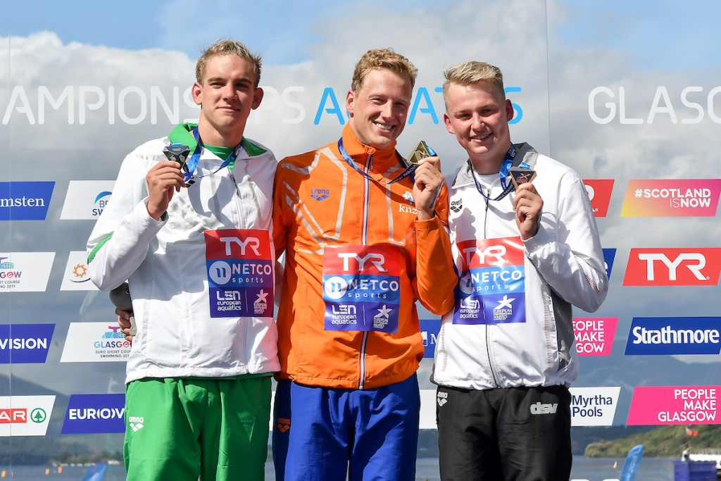 WEERTMAN Ferry NED Gold Medal RASOVSZKY Kristof HUN Silver Medal MUFFELS Rob GER Bronze Medal 10km Men Glasgow 09/08/2018 Open Water Swimming Loch Lomond and The Trossachs National Park LEN European Aquatics Championships 2018 European Championships 2018 Photo Andrea Staccioli /Deepbluemedia /Insidefoto