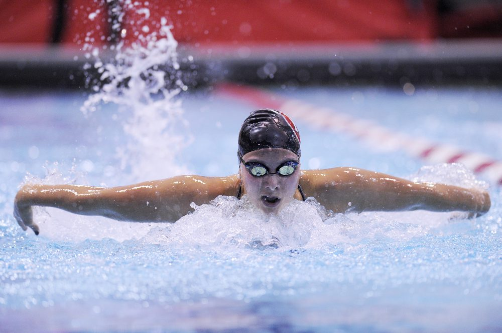 Harvard's Valerie Yoshimura during the 200 yard butterfly during a swim meet between Columbia and Harvard Universities at Harvard College on Friday November 16, 2018. Photo by Joseph Prezioso