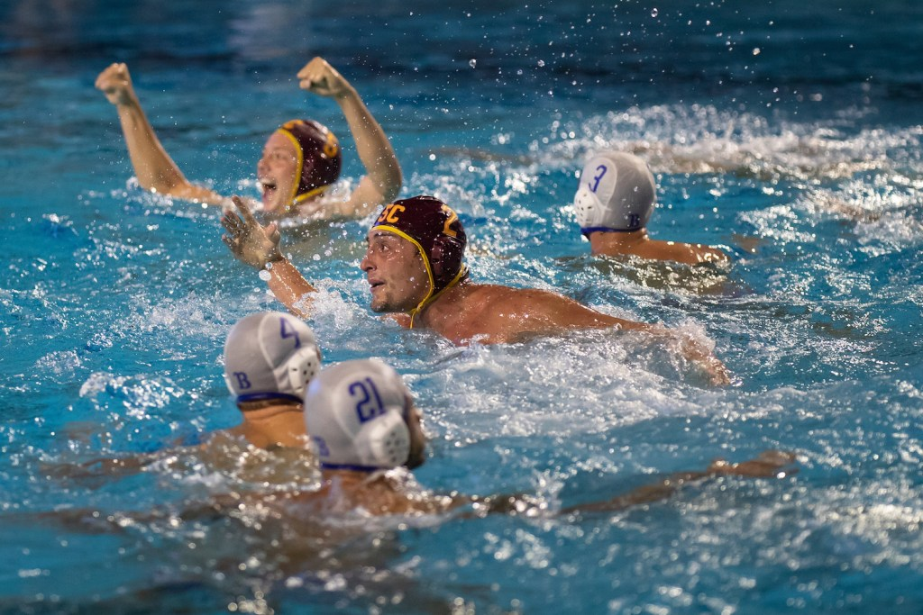 December 1, 2018; , Palo Alto, CA, USA; Collegiate Men's Water Polo:NCAA Semi Finals: USC vs UCLA; USC 2 Meter Sam Slobodien after scoring the game winning goal Photo credit: Catharyn Hayne