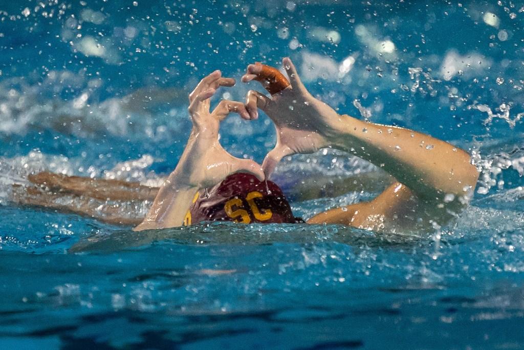 December 1, 2018; , Palo Alto, CA, USA; Collegiate Men's Water Polo:NCAA Semi Finals: USC vs UCLA; USC Driver Zach D'Sa scores Photo credit: Catharyn Hayne
