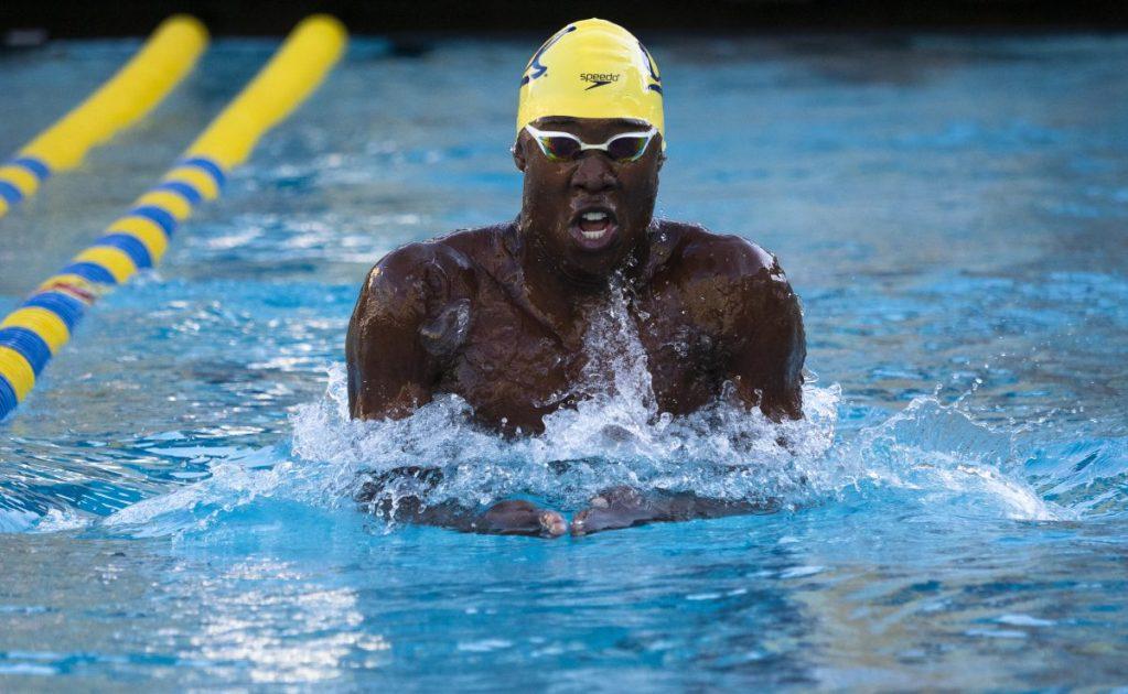 October 10, 2018; Spieker Aquatics Complexx, Berkeley, California, USA; Swimming-College: Utah at Cal: Men 100 Yard Breaststroke; Reece Whitley Photo credit: Kelley L Cox- KLC fotos