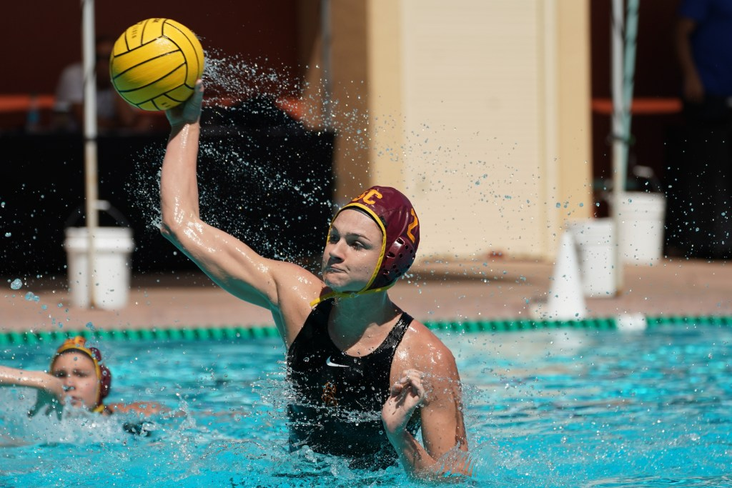 May 11, 2019; Avery Aquatic Center, Palo Alto, CA, USA; Collegiate Women's Water Polo: NCAA Semi Finals: USC Trojans vs California Golden Bears; USC Trojan Utility Maud Megens takes a 5 meter Photo credit: Catharyn Hayne