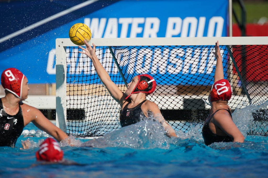 May 11, 2019; Avery Aquatic Center, Palo Alto, CA, USA; Collegiate Women's Water Polo: NCAA Semi Finals: UCLA Bruins vs Stanford Cardinals; Stanford Goalkeeper Emalia Eichelberger reaches to make the save Photo credit: Catharyn Hayne