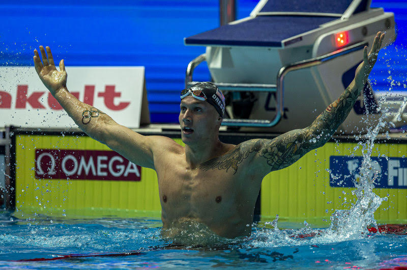 Caeleb Dressel of the United States of America (USA) celebrates after winning in the men's 100m Freestyle Final during the Swimming events at the Gwangju 2019 FINA World Championships, Gwangju, South Korea, 25 July 2019.