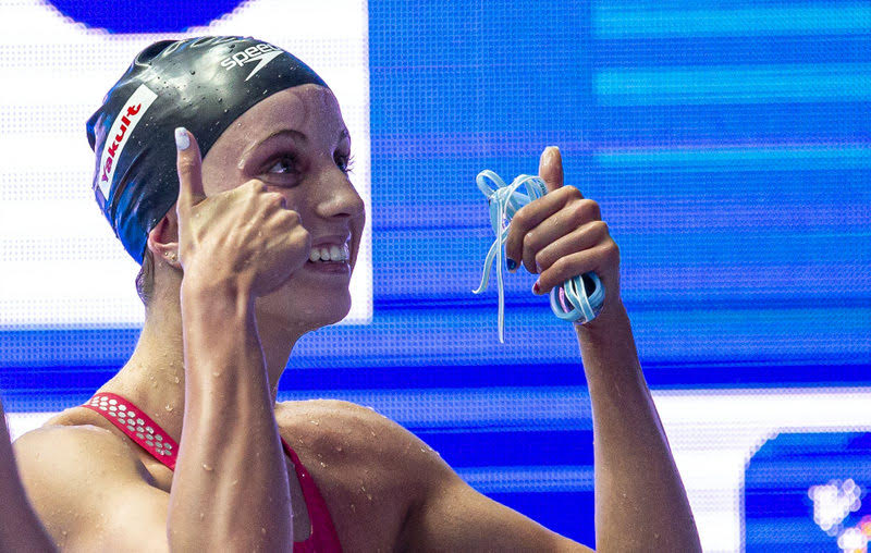 Regan Smith of the United States of America (USA) reacts after winning in the women's 200m Backstroke Final during the Swimming events at the Gwangju 2019 FINA World Championships, Gwangju, South Korea, 27 July 2019.