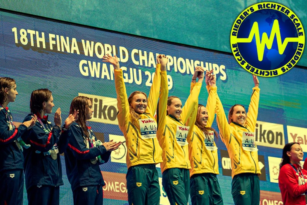 2019 fina world swimming championships, rieder's richter scale, ariarne titmus, emma mckeon, 4x200 freestyle relay
