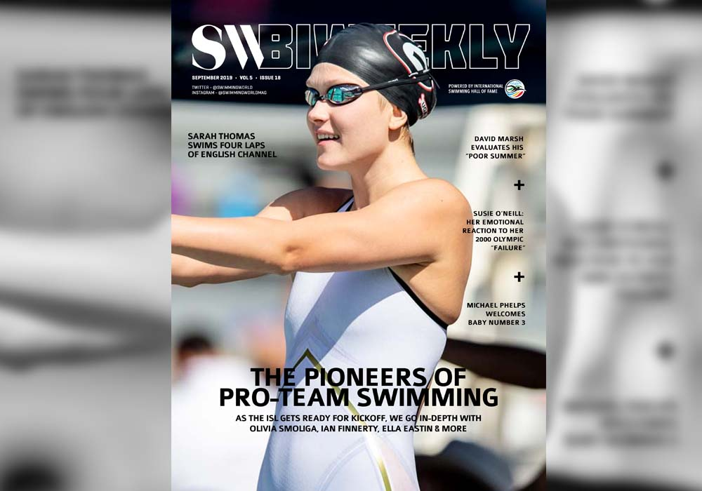 BW slider 092119 SW Biweekly 9-21-19 Cover 800x1070 The Pioneers of Pro-Team Swimming Olivia Smoliga Ella Eastin Ian Finnerty