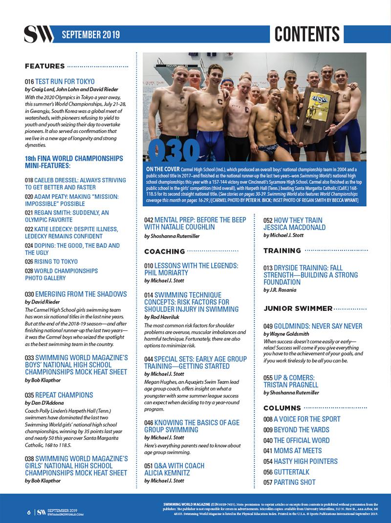 Swimming World Magazine September 2019 Issue