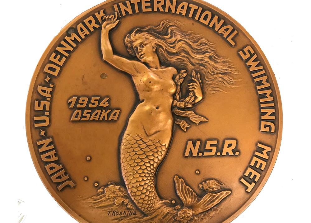 Swimming World October 2019 Mysteries of Our Museum Gail Peters Roper 1954 Osaka Medal Japan USA Denmark International Meet