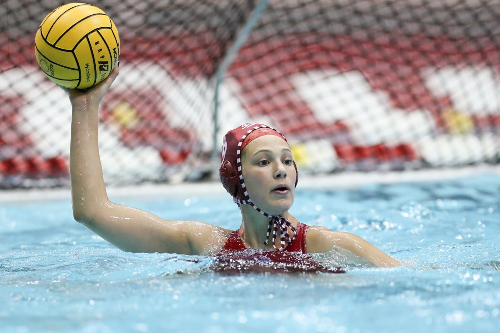 BLOOMINGTON, IN - March 01, 2019 - Goalkeeper Mary Askew #1 of the Indiana Hoosiers during the match against the Salem Tigers at the Aquatic Center in Bloomington, IN. Photo By Amelia Herrick/Indiana Athletics