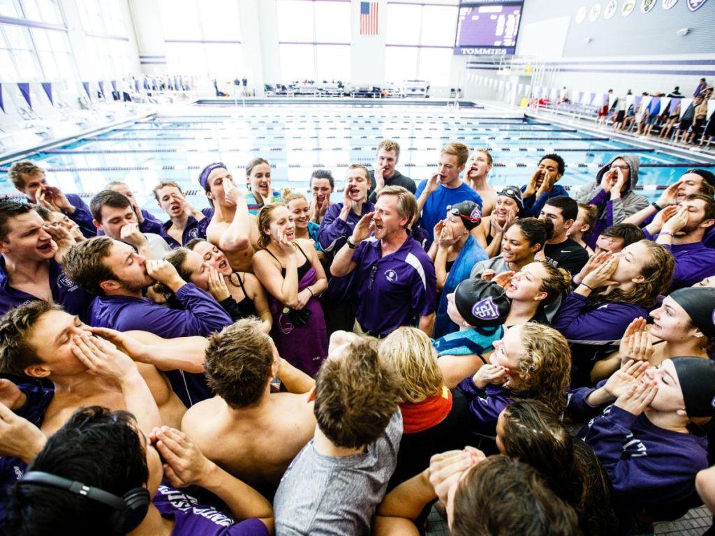 st thomas saint thomas scott blanchard team cheer huddle tommies purple