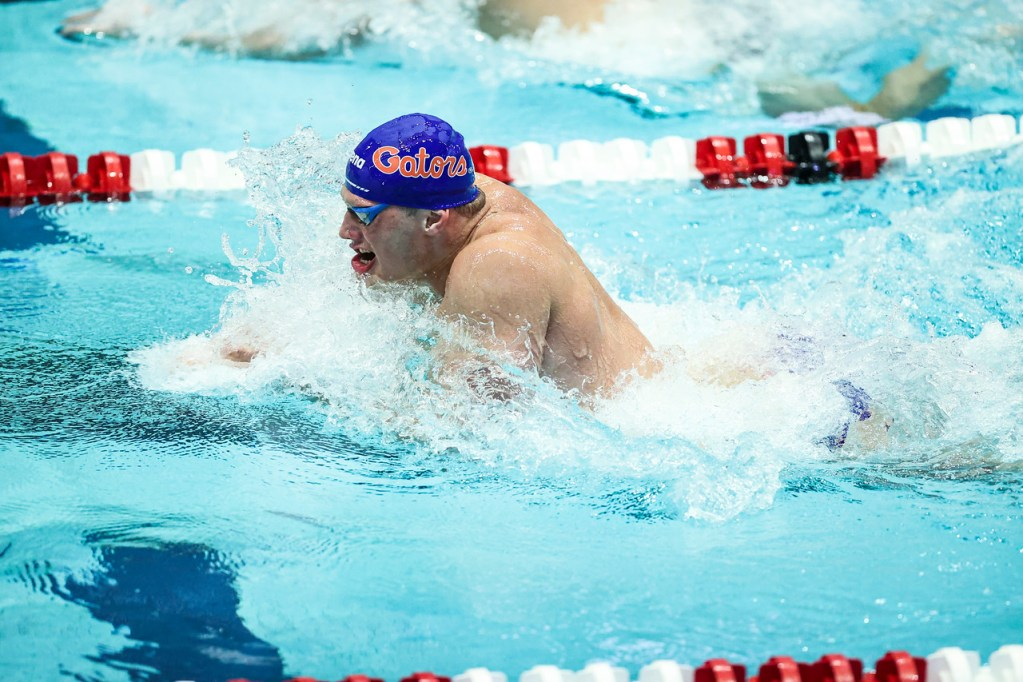 Florida during a meet against Georgia at the Gabrielsen Natatorium in Athens, Ga., on Friday, Oct. 30, 2020. (Photo by Tony Walsh)