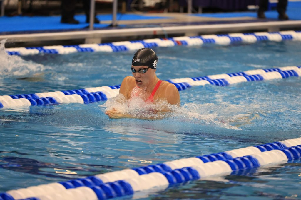 GREENSBORO, NC - MARCH 19: Swimmers compete in the 100 Breastroke Prelims on day three during the Division I Women's Swimming & Diving Championships held at the Greensboro Aquatic Center on March 19, 2021 in Greensboro, North Carolina. (Photo by Carlos Morales/NCAA Photos via Getty Images)
