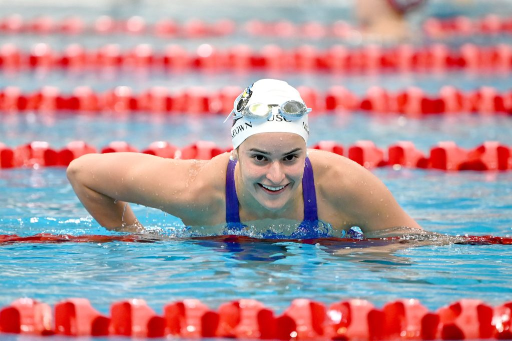 Kayle McKeown all smiles after 200Im win