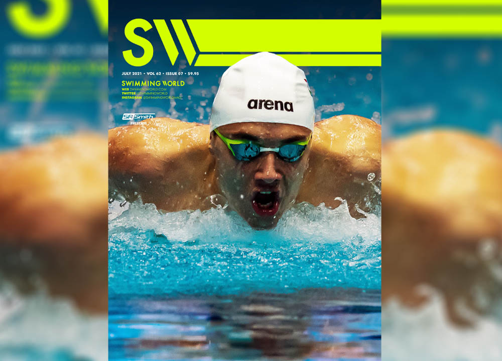 Swimming World July 2021 Cover Teaser Featuring Kristof Milak