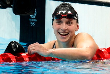 Jul 31, 2021; Tokyo, Japan; Katie Ledecky (USA) reacts after winning the women's 800m freestyle final during the Tokyo 2020 Olympics at Tokyo Aquatics Centre. Mandatory Credit: Grace Hollars-USA TODAY Sports