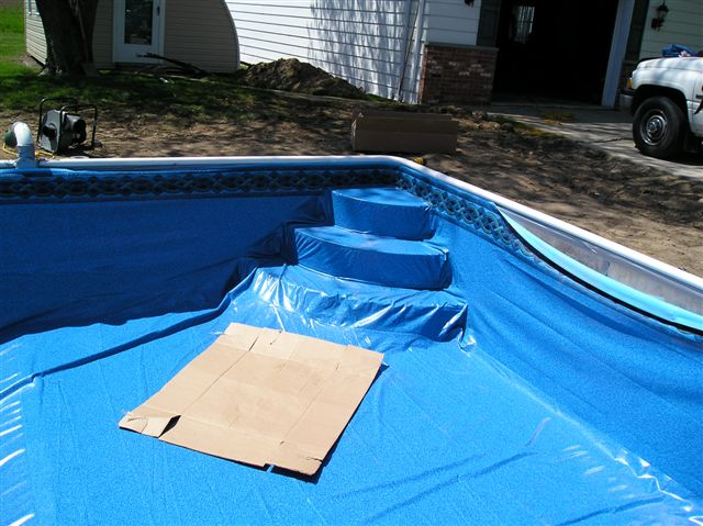 Steps go in either under the liner or over it.