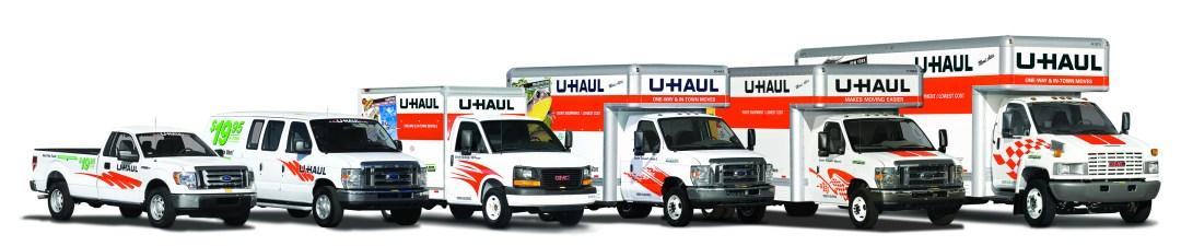 U-Haul Pick-up truck, Cargo Van, 10' truck, 15' truck, 20' truck, 26' truck