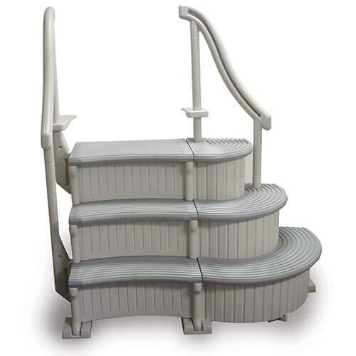 Confer curve base step for aboveground pools