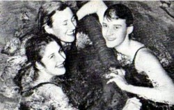 Faith Leech, right, with Dawn Fraser and Lorraine Crapp [courtesy: ES Archive]
