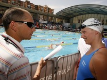 Stephan WIDMER (L) of Switzerland (coach of Libby Lenton and Leisel Jones) talks to Leisel Jones (R) of Australia during day one at the 27th International Swimming Meet (50m) held at Piscina Pere Serrat on Saturday, June 10th, 2006 in Barcelona, Spain. (Photo by Patrick B. Kraemer/MAGICPBK)