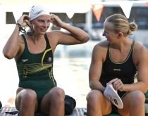 Leisel JONES (L) and Melanie SCHLANGER (R) of Australia are pictured during a training session in the Valley Swimming Pool in Fortitude Valley, Brisbane, Australia, Monday, March 12, 2007. (Photo by Patrick B. Kraemer / MAGICPBK)