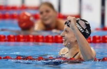 Katie LEDECKY of the United States of America (USA) celebrates after winning in the women's 800m Freestyle Final