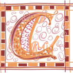 C in orange and maroon blocks and curly circles in pink