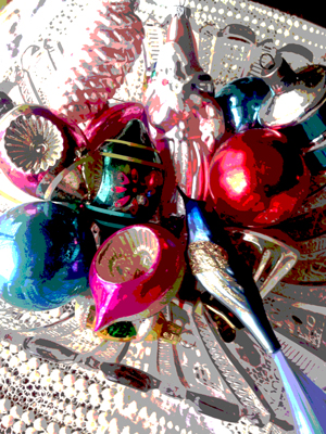 Merry-Brite and hand-blown glass Christmas ornaments