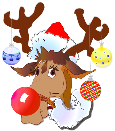 Rufus Reindeer Decorates for Christmas illustration by Patricia Wiskur