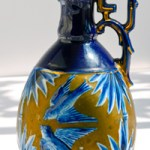 Japanese Ewer with bluebirds and bamboo art and decorated with gilding