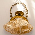 Vintage gold, purse with clasp and chain for doll
