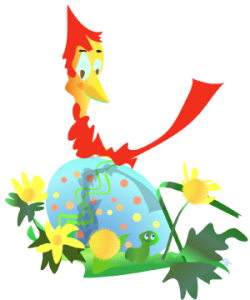 Illustration of a cardinal sitting atop an Easter egg surrounded by dandelions and a lucky worm