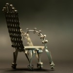 White, tin can doll house chair