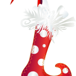Digital art of a red polka-dot stocking with a feather cuff