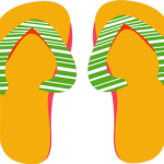 Digital art of flip flops with green and white stripes