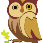 Digital art of a wide-eyed brown owl on branch from my iPad