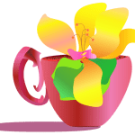 Digital art of a Yellow flower in a teacup