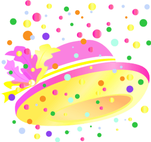 Hat with pink and yellow feathers and sprinkles illustration