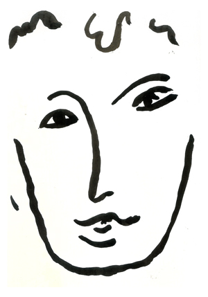 line art Ink painting in the style of Henri Matisse and his work titled Full Face