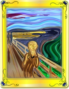 Laptop art Edvard Munch's The Scream in pixels as transformative art in a frame