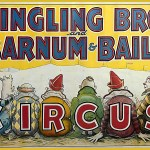 Ringling Bros. and Barnum & Bailey poster with 6six clowns and a piglet