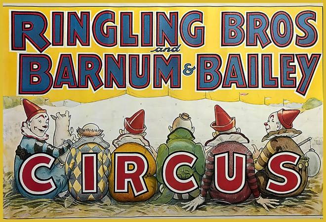 Ringling Bros. and Barnum & Bailey poster with six clowns and a piglet