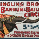 Ringling Bros. and Barnum & Bailey poster with elephant, advertising five herds of elephants that perform simultaneously