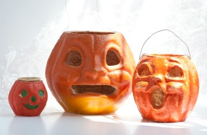 Vintage pumpkins that once held Halloween candy for Halloween