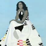 Oil on linen painting of Michelle Obama by Amy Sherold at the Smithsonian