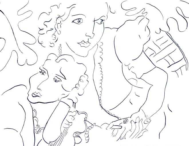 "Line art and copycat ink drawing of Matisse's ""Deux Femmes"""